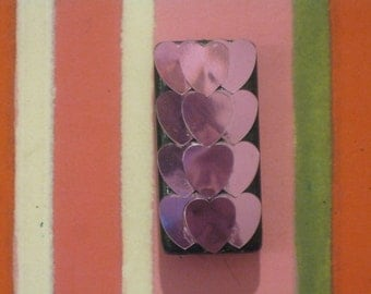 Pink Sequin Hearts Bamboo Domino Tile Magnet