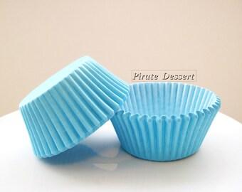 CUPCAKE LINERS,  Malibu BLUE Cupcake papers - Standard cupcake pan liners - Birthday -  Baby Shower - Wedding Cupcakes (Blue)(24 liners)