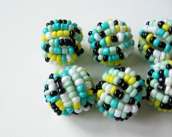 Glass seed bead beads 6 pcs