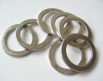 Large washer ring with antique silver tone plating 28mm 6 pcs