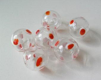 6 Hollow Hand Blown Glass Polka Dot Beads 20mm