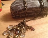 Bronze and Brown Leather Chain Gemstone Medley Pendant