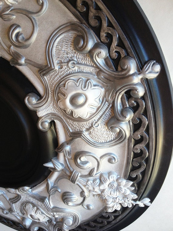 Items Similar To Ceiling Medallion Silver Moon Painted In Silver Black For A Fan Or