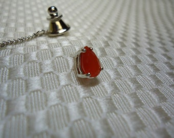 Pear Cut Orange Fire Opal Tie Tack in Sterling Silver