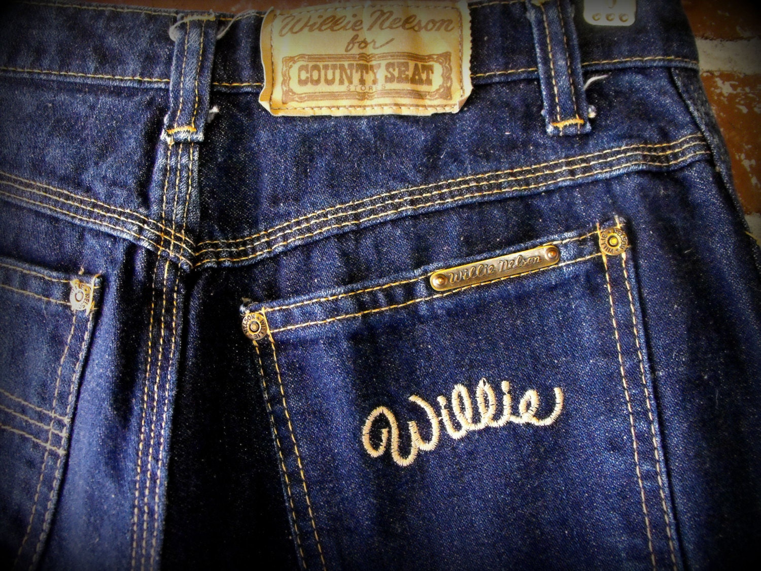 Vintage 1970 S Willie Nelson Jeans 28 Waist Extra