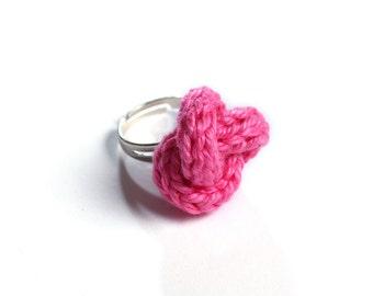 Knitted yarn ring, fiber ring, knit jewelry, yarn jewelry, hot pink
