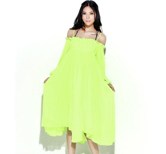 chiffon dress for Women in Fluorescent Green