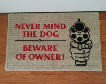 Funny saying with painted gun mat