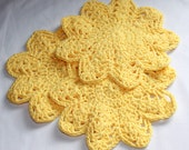 Cotton Dishcloth Set - Crocheted Dish Cloths - Cotton Wash Cloths - Yellow  - Set of 3