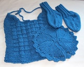 Knit Baby Gift - Blue Baby Socks, Bib, and Washcloth - Baby Set  - Baby Shower Gift - Blue