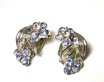 Vintage Lisner Flower Earrings - Blue and Clear Rhinestones - Silver Tone Earrings - Clip-On - Floral # 1021