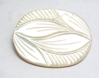Carved Mother of Pearl Brooch Pin