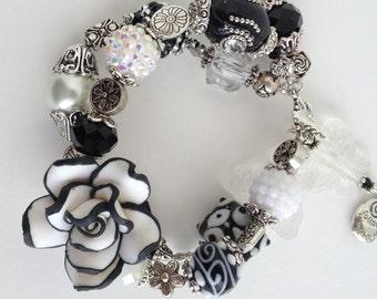 OOAK Lamp work Rose Bracelet