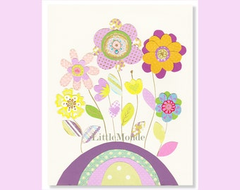 Baby Girl Nursery Prints, Purple Nursery Art, Lavender Nursery, Floral Nursery Print, Purple And Green, Spring