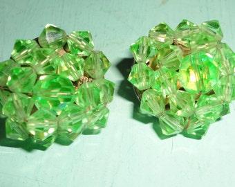 Green Cluster Clip On Earrings **