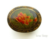 Vintage Lacquered Trinket Box, Oval, 75 mm Long, Hand Painted