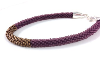 Frosted Purple (Amethyst) & Matte Copper Gold Crochet Bracelet
