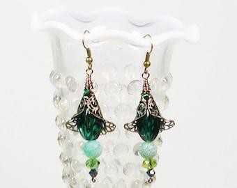 Antiqued Filigree Earrings, Turquoise Earrings, Victorian Earrings, Vintage Style Earrings