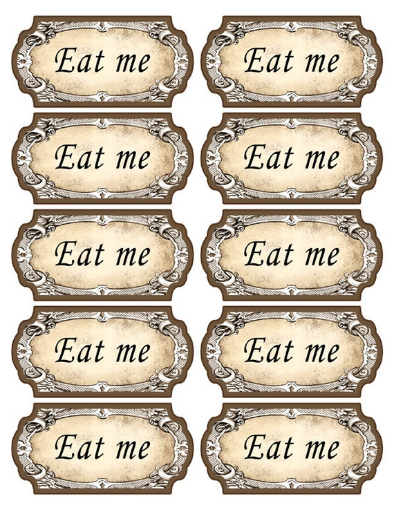 Gallery for eat me tag template for Alice in wonderland tags template