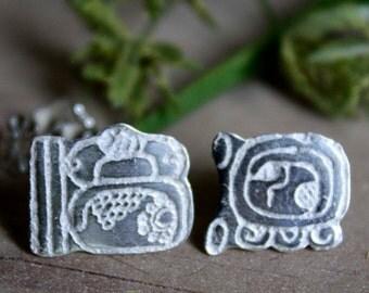 Tzolkin Haab, sterling silver stud earrings from the Maya calendar