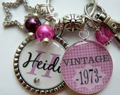 Personalized vintage 40th birthday keychain name mother sister aunt daughter 40th birthday milestone pink houndstooth vintage1973 1963