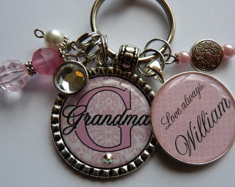 Personalized Grandma keychain, Pink damask, childrens name, grandma, nana, mom, gift, present, sister, aunt, mothers day double bezels