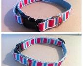 Custom dog collar pink and blue stripes