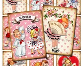INSTANT DOWNLOAD, Printable, Digital Collage Sheet, Valentine's Day Retro Vintage Kids, DIY Cards, Tags, Scrapbooking, atc aceo