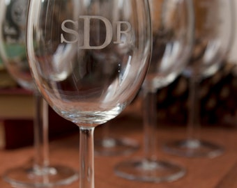 2, Monogram Wine Glasses, Engraved Gifts, Laser-Engraved Wine Glasses, Wedding Keepsake