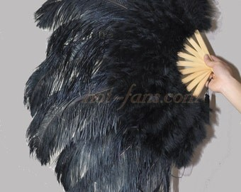 """24""""x 43"""" Black  Marabou & Ostrich Feathers Hand Fan With Bamboo Staves"""