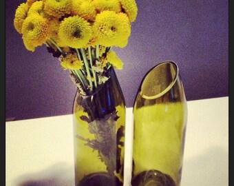 Beautiful Handmade Flower Vase from Recycled White Wine Bottle