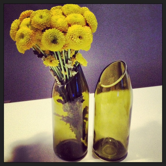 Beautiful handmade flower vase from recycled white wine bottle for Wine bottle flower vase