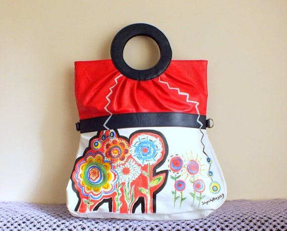 Vinyl red white blue handbag, handpainted purse CRAZY FLOWERS