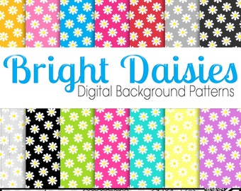 Bright Daisies Digital Backgrounds