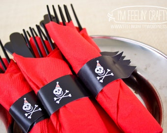 Pirate Party Napkin Rings- Set of 20, Prepared