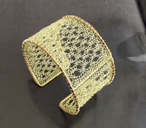 similar to crochet wire bracelet, golden cuff bracelet, crochet wire ...