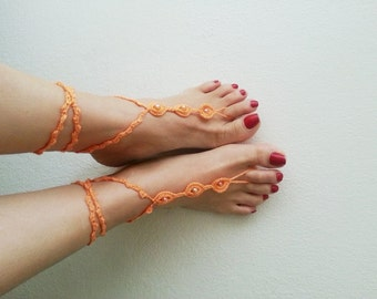 Orange color with orange beads Barefoot Sandals, Nude shoes, Foot jewelry, Bridal Accessories, Victorian Lace, Sexy, Lolita, Yoga, Anklet