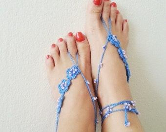 Blue with beads flowers Barefoot Sandals, Foot jewelry, Bridal Accessories, Sexy,Yoga, Anklet, Bellydance, Steampunk, Beach Pool