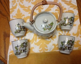 Vintage Teapot Six Piece Set Beautiful Floral Pattern Made In Japan