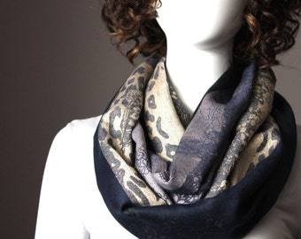 Black scarf, animal pattern scarf, black infinity scarf