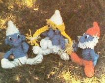 Vintage Crocheted Little Blue People Pattern