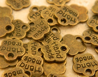 50 metal antique bronze brass tags vintage retro style handmade tags jewelry supplies