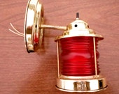 Vintage, Nautical, Wall Sconce, Light, Lighting,  Brass, Red Colored Glass, Retro, Cottage Chic, Traditional, Electric, Port Boat Light