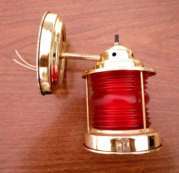 Vintage Nautical Wall Sconce Light Lighting Brass Red