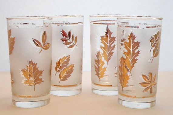 Vintage Set of Four Libbey 12oz. Frosted Glasses with Gold Leaves  Mid Century Modern  Barware  Glassware  Bar Glass