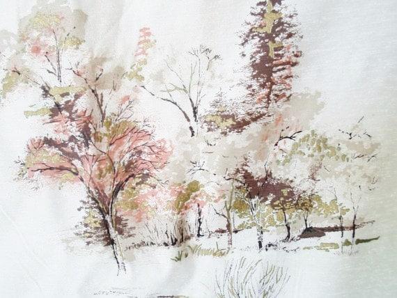 Vintage 4 1 3 Yard Barkcloth Fabric Trees Asian Gold Browns