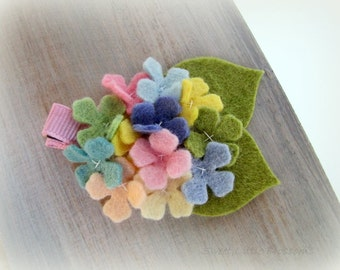 Spring Wool Felt Hairclip - Pastel Hydrangea flowers with leaves Girl or Baby Easter Hair Clip Headband
