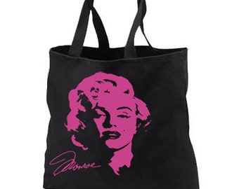 Artsy Marilyn Monroe Pink Neon New Black Tote Bag