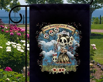 Amor Inmortal Para Siempre New Small Garden Flag, Immortal Love Forever, Day of the Dead