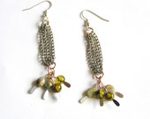 "Dangle Earrings Chains w Blue Impression Jasper & Olive Dragon Vein Agate- 3"" long earrings"